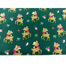 Cotton 100% small deer on a dark green background, poplin