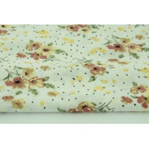Cotton 100% ginger flowers, dots on a cream background, poplin