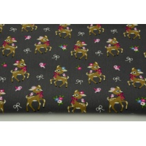 Cotton 100% small deer on a graphite background, poplin