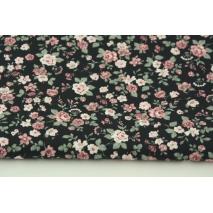 Bawełna 100% różyczki na czarnym tle, popelina