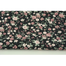 Cotton 100% small roses on a black background, poplin