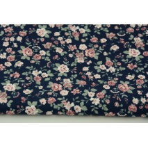 Cotton 100% small roses on a navy blue background, poplin