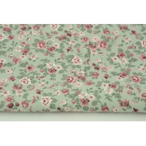 Cotton 100% small roses on a sage background, poplin