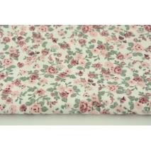 Bawełna 100% różyczki na białym tle, popelina