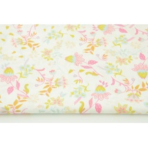 Cotton 100% lovely flowers on a white background, poplin