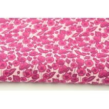 Bawełna 100% amarantowe kwiatki na różowym tle, popelina