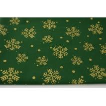 Bawełna 100% brokatowe śnieżynki na zielonym tle