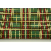 Bawełna 100% zielona szkocka kratka