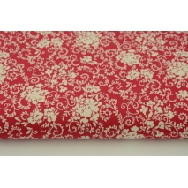 Cotton 100% cream bouquets on a red background