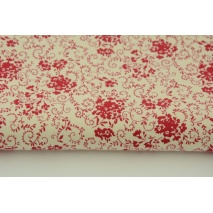 Cotton 100% red bouquets on a cream background