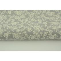 Bawełna 100% kremowe różyczki na szarym tle
