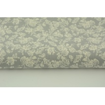 Cotton 100% cream roses on gray background