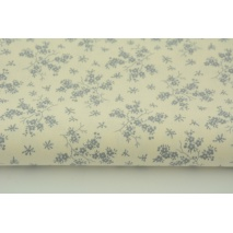Cotton 100% gray flowers on a cream background
