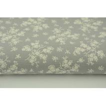 Bawełna 100% kremowe kwiatki na szarym tle