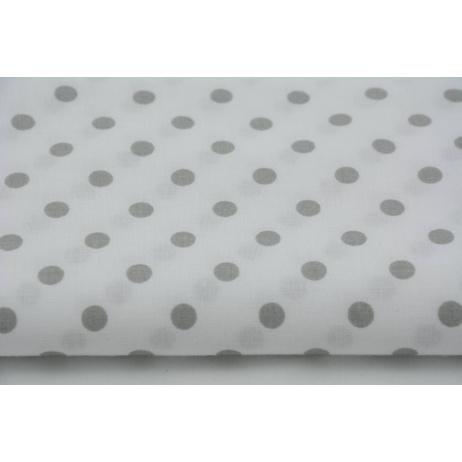 Bawełna 100% jasnoszare kropki 7mm na białym tle