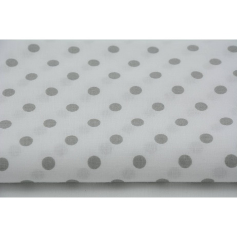 Cotton 100% light gray polka dots 7mm on a white background