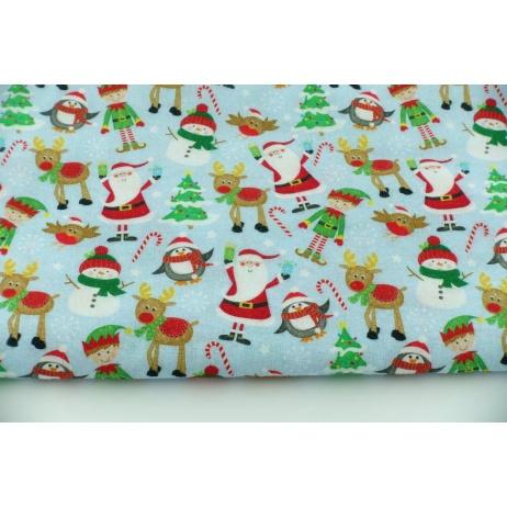 Cotton 100% happy elves, Santa on a blue background DC