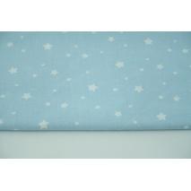 Cotton 100% irregular white stars on a blue background