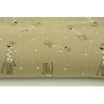 Double gauze 100% cotton giraffes on a beige background