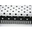 Bawełna 100% czarne kropki 7mm na białym tle