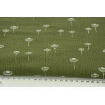 Double gauze 100% cotton chamomiles on khaki background
