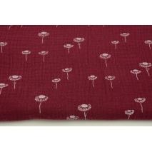 Double gauze 100% cotton chamomiles on burgundy background