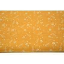 Double gauze 100% cotton flowers on a dark honey background
