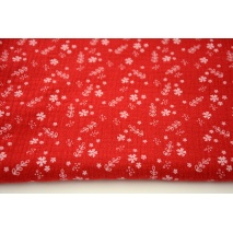 Double gauze 100% cotton flowers on a red background