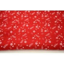 Muślin 100% bawełniany kwiatki na czerwonym tle