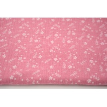 Double gauze 100% cotton flowers on a dark pink background