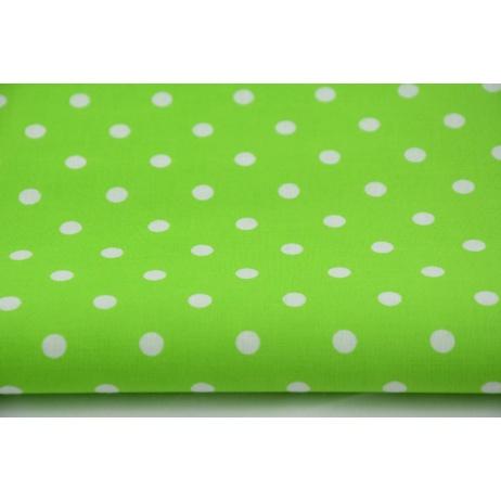 Kropki białe 7mm na jaskrawo zielonym tle