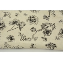 Viscose with linen drawn black wildflowers