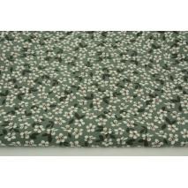 Single jersey, kwiatki na zielonym tle