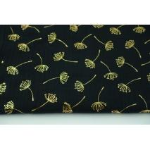 Muślin bawełniany, złote kopry na czarnym tle