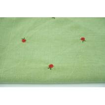 Bawełna 100% haftowane różyczki na zielonym tle