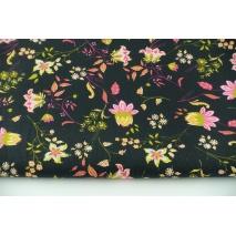 Bawełna 100% rajskie kwiatki na czarnym tle, popelina
