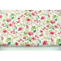 Bawełna 100% wiosenne kwiaty na białym tle, popelina