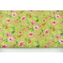 Cotton 100% spring flowers on lime background, poplin
