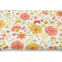 Bawełna 100% kolorowe kwiaty, motylki na białym tle, popelina