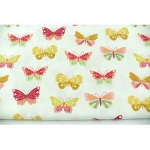 Bawełna 100% kolorowe motylki na białym tle, popelina