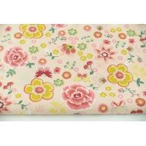 Bawełna 100% kolorowe kwiaty, motylki na różowym tle, popelina