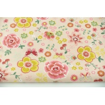 Cotton 100% colorful flowers, butterflies on a pink background, poplin