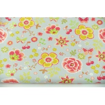 Cotton 100% colorful flowers, butterflies on a gray background, poplin