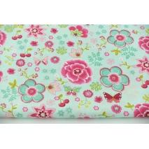 Cotton 100% colorful flowers, butterflies on a mint background, poplin