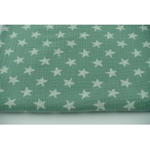 Muślin bawełniany, rysowane gwiazdki na bazyliowym tle
