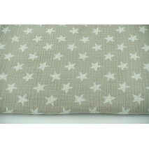 Double gauze 100% drawn stars on a cool beige background