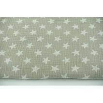 Muślin bawełniany, rysowane gwiazdki na chłodnym beżu