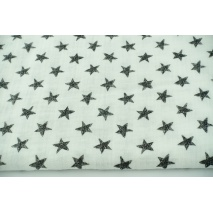 Double gauze 100% drawn black stars on a off white background