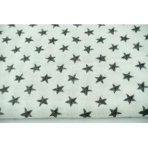 Muślin bawełniany, rysowane gwiazdki na złamanej bieli