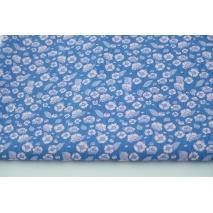 Cotton 100% pink flowers on a blue background, poplin